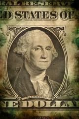 Washington on USA dollar banknote grunge vintage style