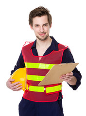 Young smiling engineer hold with file