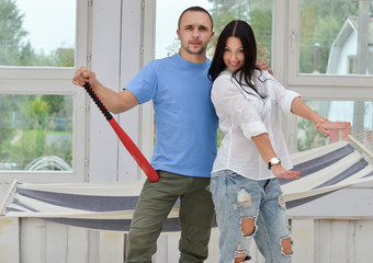 Young couple on in love at home, standing