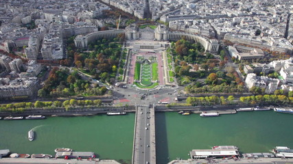 View from the Eiffel Tower on the river Seine and Paris