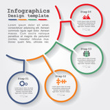 Infographic report template with lines and icons. Vector - 81211489