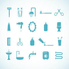 Set of 20 bathroom and toilet icons. Vector illustration eps8