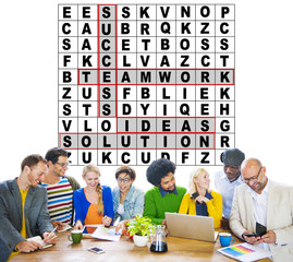 Success Crossword Puzzle Words Achiement Game Concept