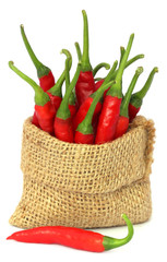 Red chili peppers in a sack bag