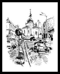 drawing of Kyiv street, Podol, Ukraine