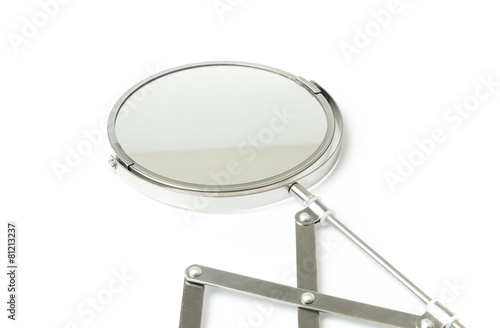 Leinwanddruck Bild Cosmetic magnifying  mirror isolated on white
