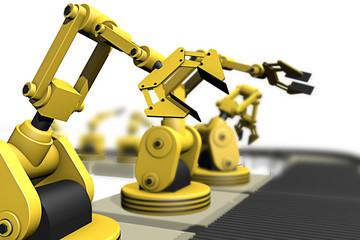 Productie aan lopende band met robotarmen