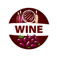 Round vector logo barrel and bottle of wine
