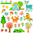 stickers designs with cute animals and plants