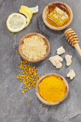 Ginger, Turmeric, lemon and honeycomb