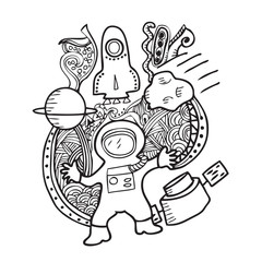 Astronaut and space doodle
