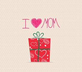 Happy Mother's Day! Greeting card with gift boxes