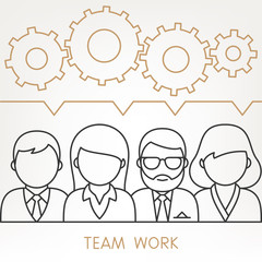 Vector Teamwork Gears Concept