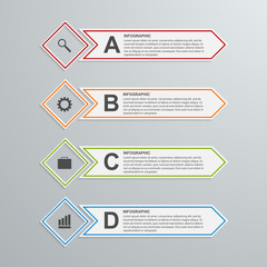 Abstract paper infographic design template. Vector illustration.