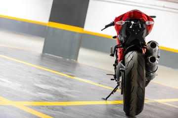 Motorcycle parking in garage