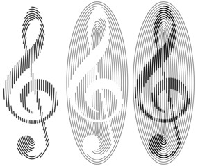 abstract treble clefs from ovals