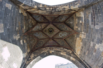 Gothic Tower From Bottom View - fisheye lens view