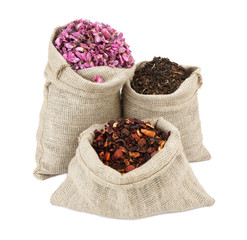 Assortment of tea in fabric bags. Darjeeling, red bud, fruit