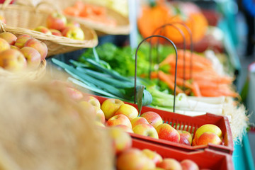 Fresh bio fruits and vegetables on a market