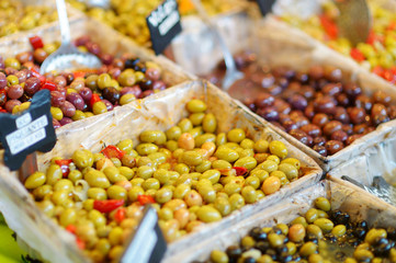 Various olives on a market