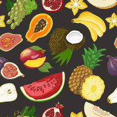 Seamless pattern with healthy fruits on dark background
