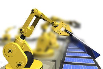 De productie van zonnepanelen