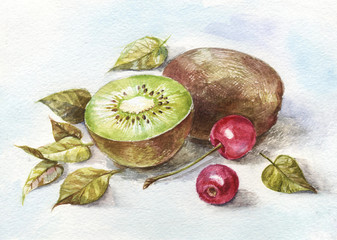 watercolor cherry and kiwi
