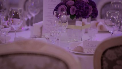 Exquisite wedding table setting. Wedding day.