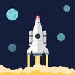 Flat illustration concept for web development. Rocket in space - 81217616