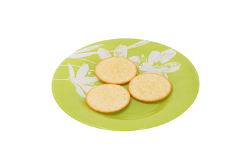 Cookies in the green plate.