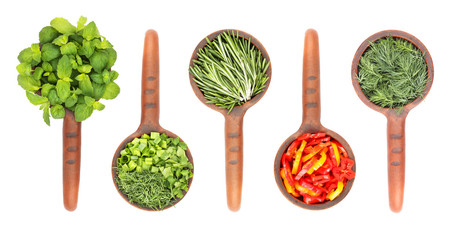 Fresh flavoring herbs and spices in ceramic scoop