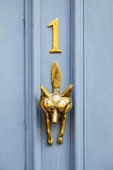 Brass door knocker in the form of a fox