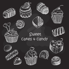 Set of isolated sweet cakes and sweets on dark background