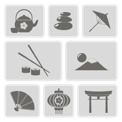 set of monochrome icons with japanese symbols for your design