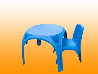 Children's plastic table and chair