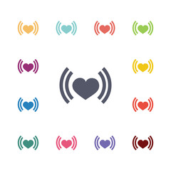 heart beat flat icons set
