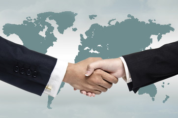 business deal with global map in the background