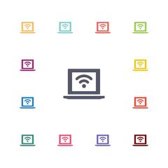 wifi laptop flat icons set
