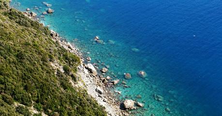 ligurian sea and  beach viewed from Punta Manara cliff