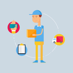 Character - courier, delivery concept. Vector illustration, flat