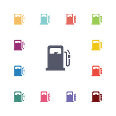 petrol station flat icons set