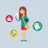 Fototapety Character - student, education concept. Vector illustration, fla