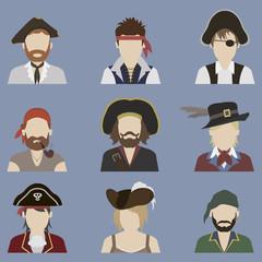 Set of avatars. Pirate
