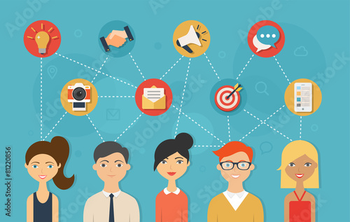 Social network and teamwork concept for web and infographic - 81220856