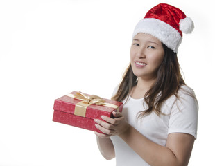 Young woman holding a red gift box