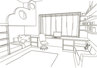 linear architectural sketch child room