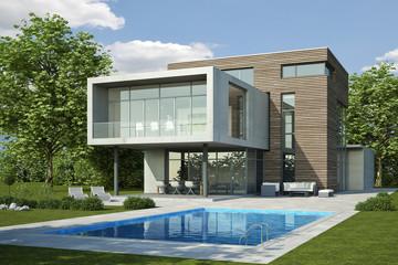 Moderne Villa 3 beton holz