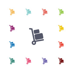 Luggage trolley flat icons set