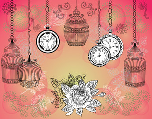 Romantic vintage background with cages, watches and roses
