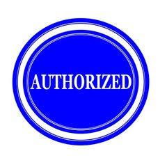Authorized white stamp text on blue